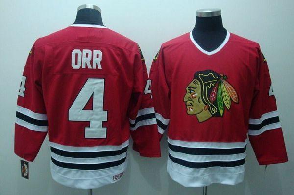 Blackhawks  4 Bobby Orr Embroidered Red CCM Throwback NHL Jersey ef57edfd6